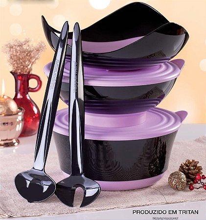 Tupperware Kit Elegância Tritan Preto e Roxo 5 peças Importado