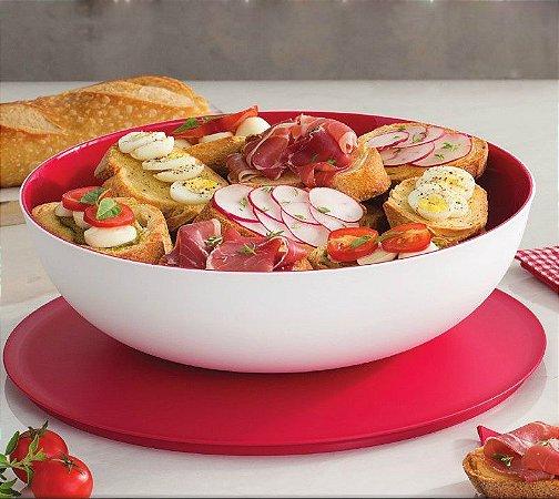 Tupperware Tigela Allegra 3,5 litros Branco e Vermelho