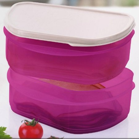 Tupperware Mini Empilháveis Rosa Tampa Branca