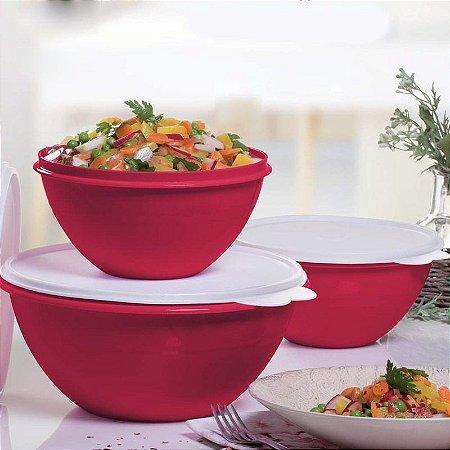 Tupperware Kit Tigela Maravilhosa 2,6 e 1 litros Vermelho 3 peças