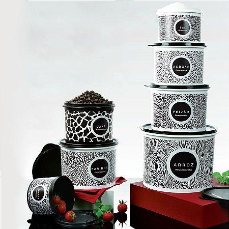 Tupperware BEA Caixas Animal Print Preto e Branco 7 peças