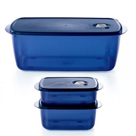 Tupperware Kit Vent N Serve Container Azul 3 peças