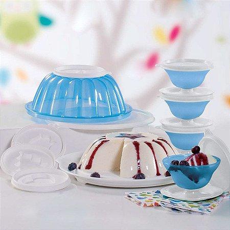 Tupperware Mágica 1 litro Azul + 4 Tacinhas 130 ml Tampa Branca kit 5 peças