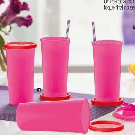 Tupperware Copo 265 ml Rosa Tampa Vermelha