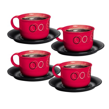 Tupperware Xícara Círculos 150ml Vermelha Kit 4 Peças
