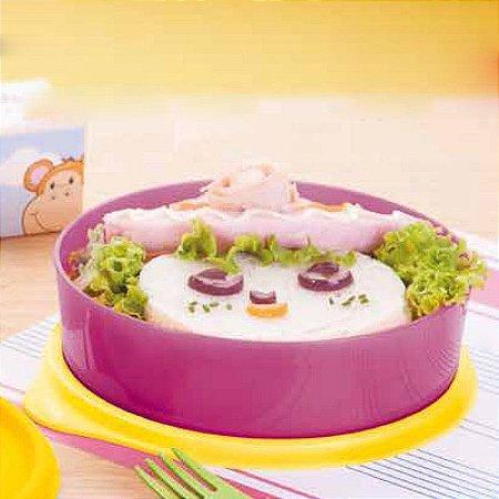 Tupperware Pratinho 500ml Rosa e Amarelo