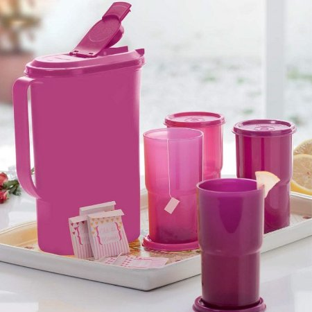 Tupperware Jarra Perfeita + Copos Colors kit 5 Peças Rosa