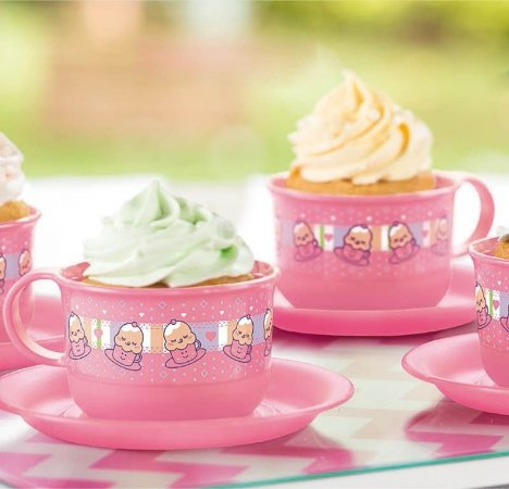 Tupperware Cupcake na Xícara 150ml Rosa Estampada