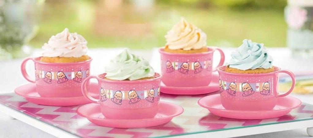 Tupperware Cupcake na Xícara 150ml Rosa Estampada Kit 4 peças