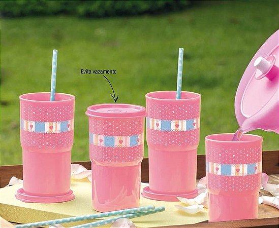 Tupperware Copos Colors 350ml Rosa Kit 4 peças