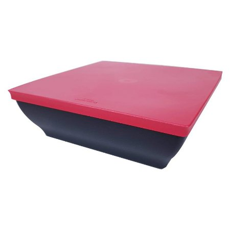 Tupperware Travessa Zen Line Quadrada 1,75 litro Preto e Vermelho