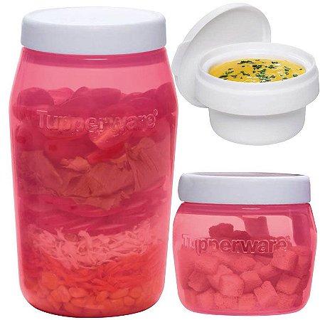 Tupperware Universal Jar 325ml + 825ml + Tampa para Molhos 118ml Kit 3 Peças