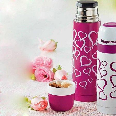 Tupperware Garrafa Térmica Coração 500ml Rosa e Branco