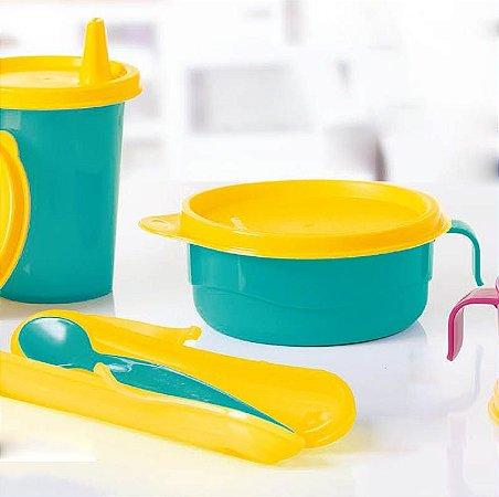 Tupperware Colher Infantil Azul + Pratinho Infantil Com Alça Azul 240ml