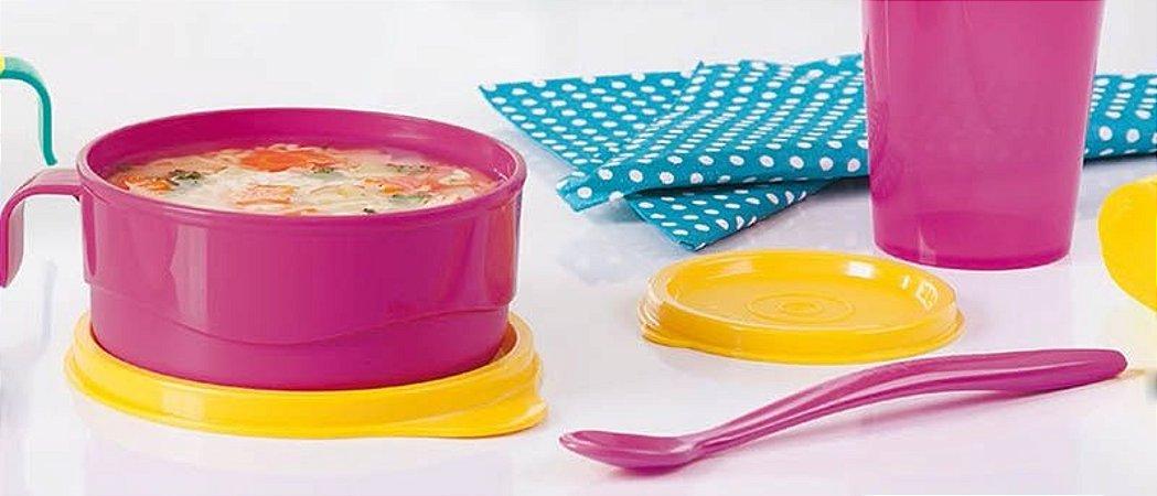 Tupperware Colher Infantil Rosa + Pratinho Infantil Com Alça Rosa 240ml