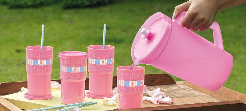 Tupperware Copos Colors Rosa Estampados + A Jarra Rosa Kit 5 Peças
