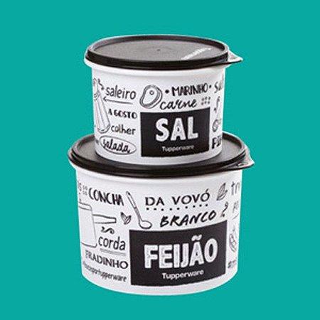 Tupperware Caixa Feijão e Sal PB Fun Preto e Branco kit 2 peças