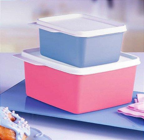 Tupperware Basic Line Azul e Rosa Quartzo kit 2 peças