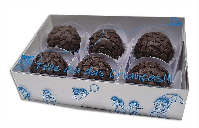 Embalagem branca p 6 doces Dia Das Crianças c/ 10 und