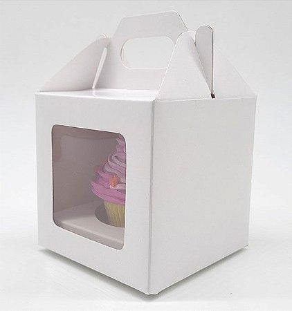 Caixa Branca c/ Visor p/ 1 cupcake (8,5x8,5x8,5) c/10 Unidades.