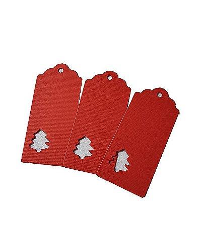 20 - Tags vermelha natal - Tamanho 10x4,5