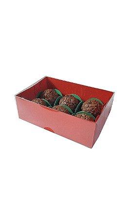 10 Caixas Vermelhas para 6 doces (12x8x4) - pct c/10 Unid.