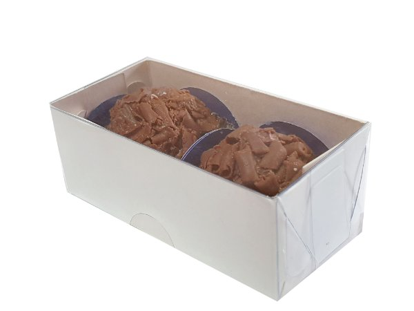 Caixa branca p/2 brigadeiros ou doces (8x4x3)  pacote c/20 unidades