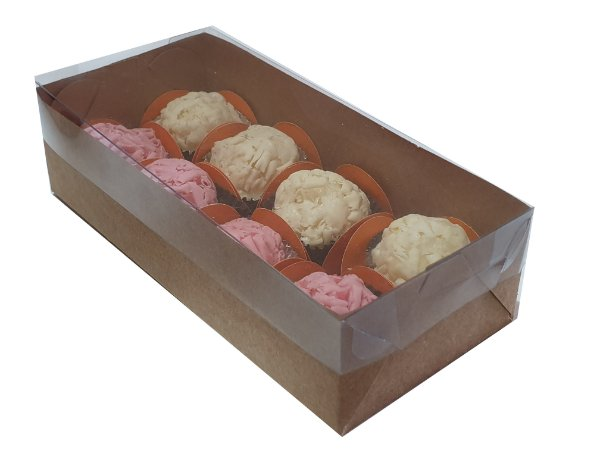 Embalagem kraft para 8 doces (17x8x4,5) - pct c/20 unidades