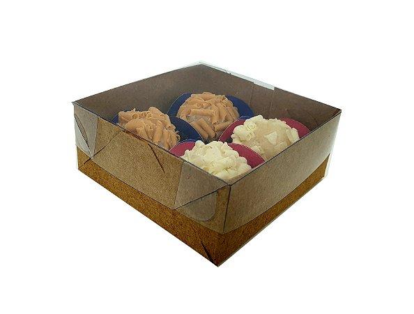 Embalagens kraft para 4 doces ( 8,5x8,5x3,5 ) pacote c/20 Unidades