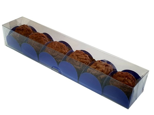 Caixa de acetato transparente P/6 doces (22x4x3,5)  pct c/10 Unidades