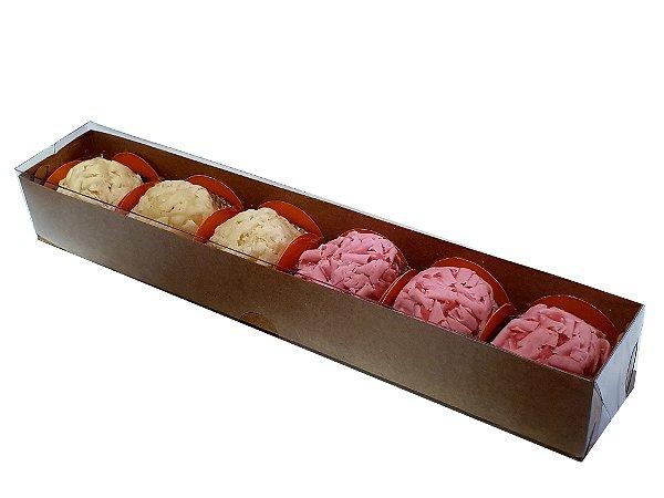 Embalagem kraft para 6 doces (23x4x3) - pct c/20 Unidades