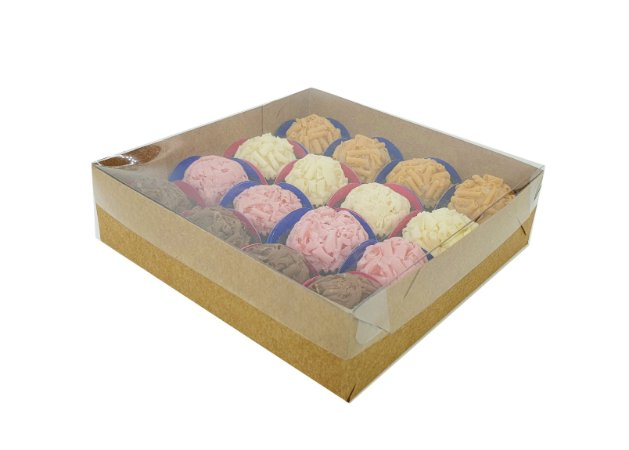 Embalagem kraft para 16 doces (15X15X4) - 20 Und.