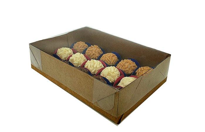 Embalagens kraft Para 15 doces (20x14x5) pacote c/20 Unidades