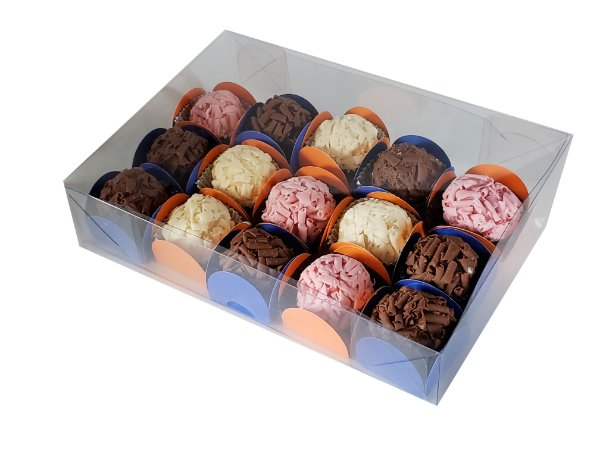 20 Caixas de acetato Para 15 doces 20x14x4 -pct c/20 Unid.