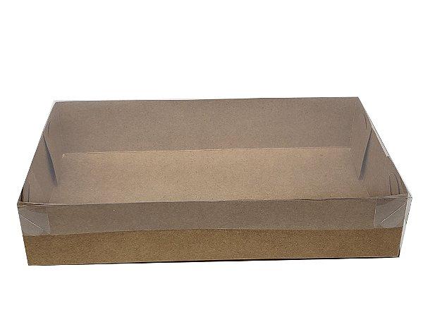 Embalagem kraft  com tampa de acetato  25x15x5 - pacote c/20 unidades