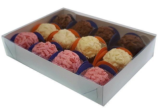 Embalagem branca para 12 doces (17x12,5x3) pacote c/ 100 Unidades