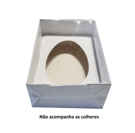 10 Caixas Brancas Para Ovo de Colher 500g sem a Colher - 10 Unidades