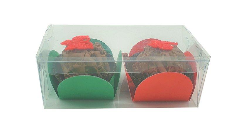 Embalagem de acetato transparente para 2 doces (9x4,5x3,5 - pacote c/20 unidades