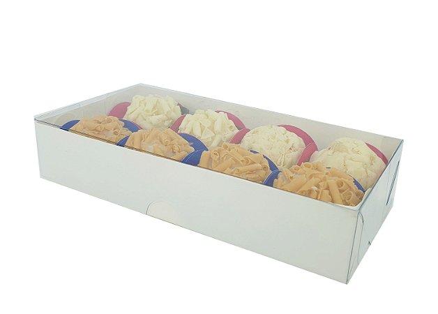 Embalagem Branca para 8 doces ( 15,5x8x3 ) - pct c/ 20 unidades