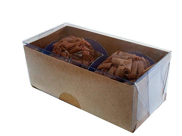 Embalagem kraft para 2 doces  8x4x3 - pct c/10 unidades