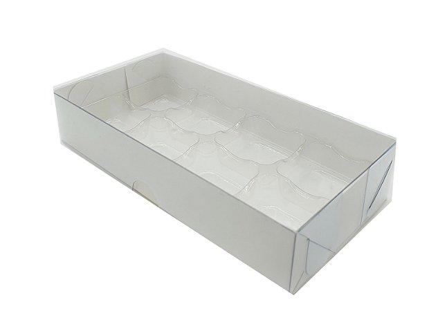 Embalagem Branca P/8 Doces com Berço e Tampa Transparente - pacote c/10 unidades