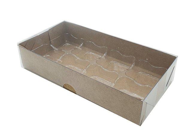 Embalagem Kraft P/8 Doces com Berço e Tampa Transparente - pacote c/10 unidades