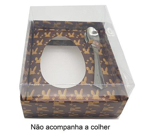 Caixas Marrom de Coelhos P/ Ovo de Colher 250g. Sem a colher - 05 unidades
