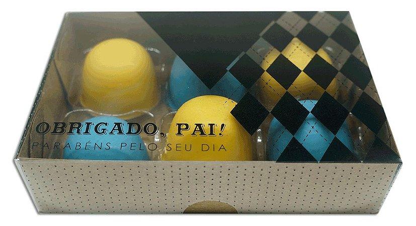 Caixa embalagem Kraft dia dos Pais para 6 brigadeiros ou doces - Obrigado Pai- 10 Uni