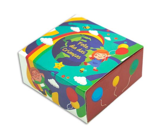 Embalagem dia das crianças - p/ 4 brigadeiros - pct c/10 unidades 8,5x8,5x3,5