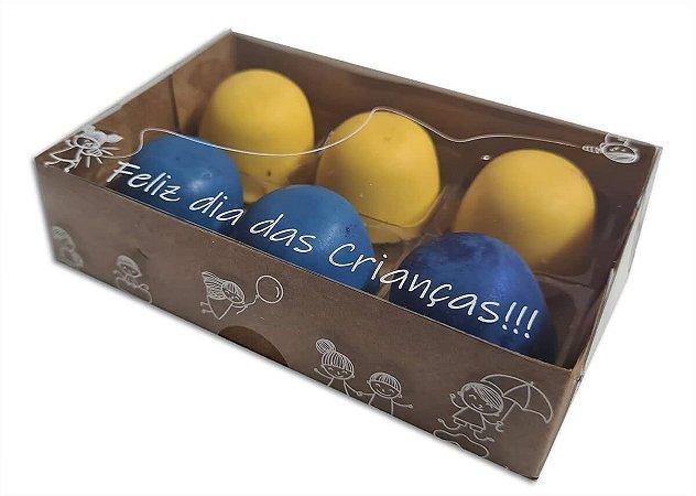 Embalagens kraft p 6 doces Dia Das Crianças c/ 10 unidades