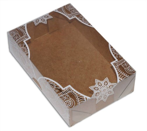 Embalagem para 6 doces - kraft tampa em arabesco branca pct c/10 und