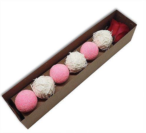 Embalagem para 6 doces e uma rosa - Kraft - 10 unidades