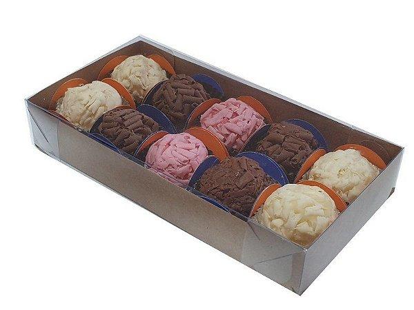 Embalagem kraft para 10 doces  (18x9x3) - pacote c/10 unidades