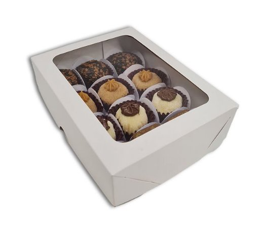 Embalagem Branca com Visor P/ 12 doces (16x12x4) pct c/20 und